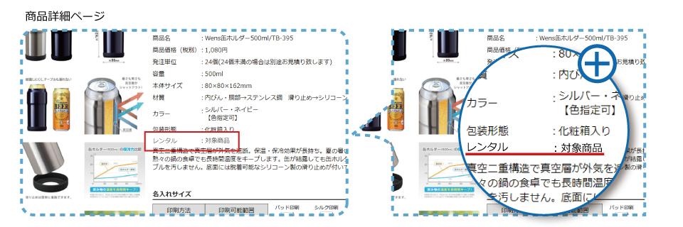 レンタル対象商品の表示